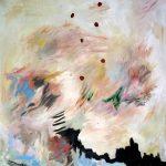 Lune rouge gaspésienne no.1, 2018 Acrylique, crayons, pastel gras et collage sur toile 152 x 91 cm