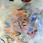 Lune rouge gaspésienne no.2, 2018 Acrylique, crayons, pastel gras et collage sur toile 152 x 91 cm
