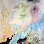Lune rouge gaspésienne no.3, 2018 Acrylique, crayons, pastel gras et collage sur toile 152 x 91 cm