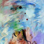 Lune rouge gaspésienne no.4, 2018 Acrylique, crayons, pastel gras et collage sur toile 152 x 91 cm