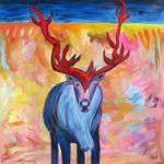 Bestiaire gaspésien no. 2, 2019 Acrylique et pastel gras sur toile 61 x 61 cm