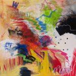 Renversé, 2019 Acrylique et pastel gras sur toile 92 x 92 cm