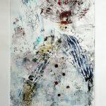 Avec le courant, 2020 - Techniques mixtes sur papier - 76 x 38 cm